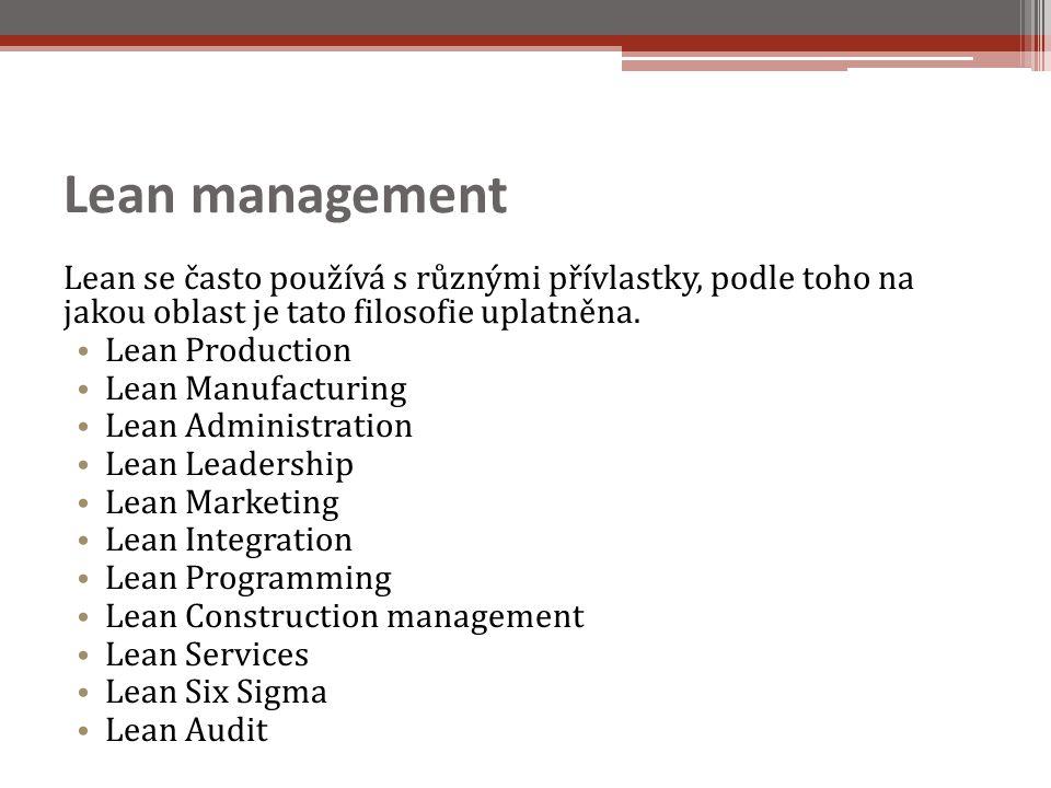 Lean management Lean se často používá s různými přívlastky, podle toho na jakou oblast je tato filosofie uplatněna.
