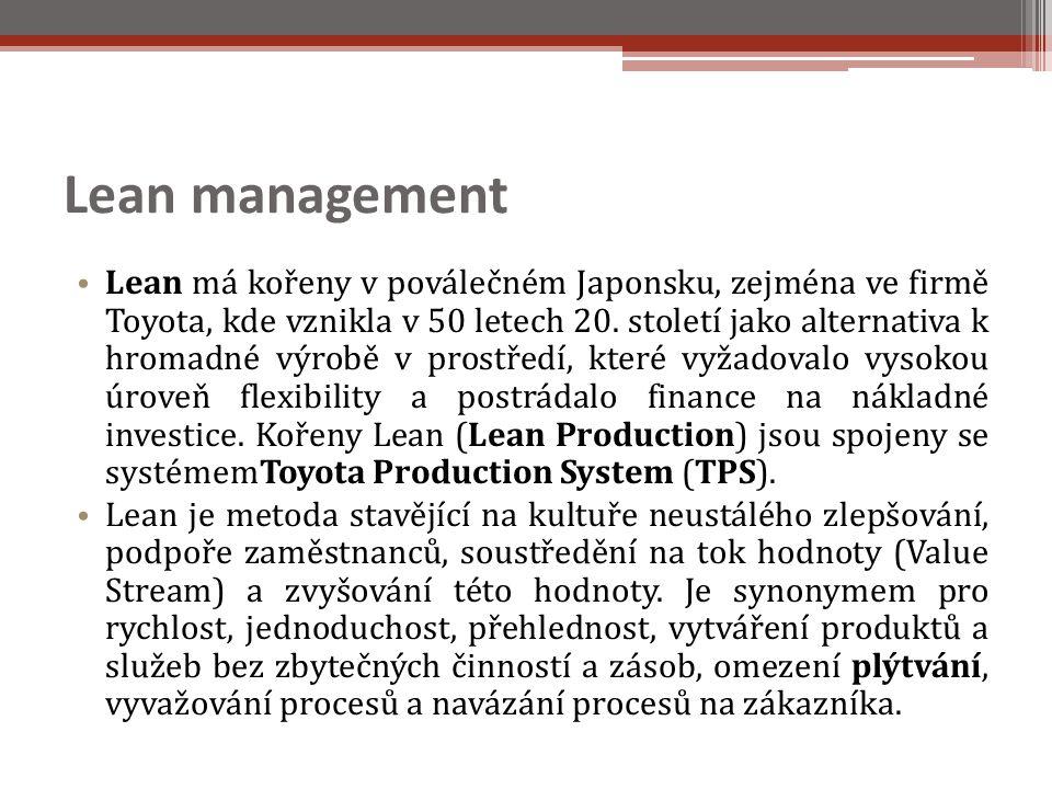 Lean management Lean má kořeny v poválečném Japonsku, zejména ve firmě Toyota, kde vznikla v 50 letech 20.
