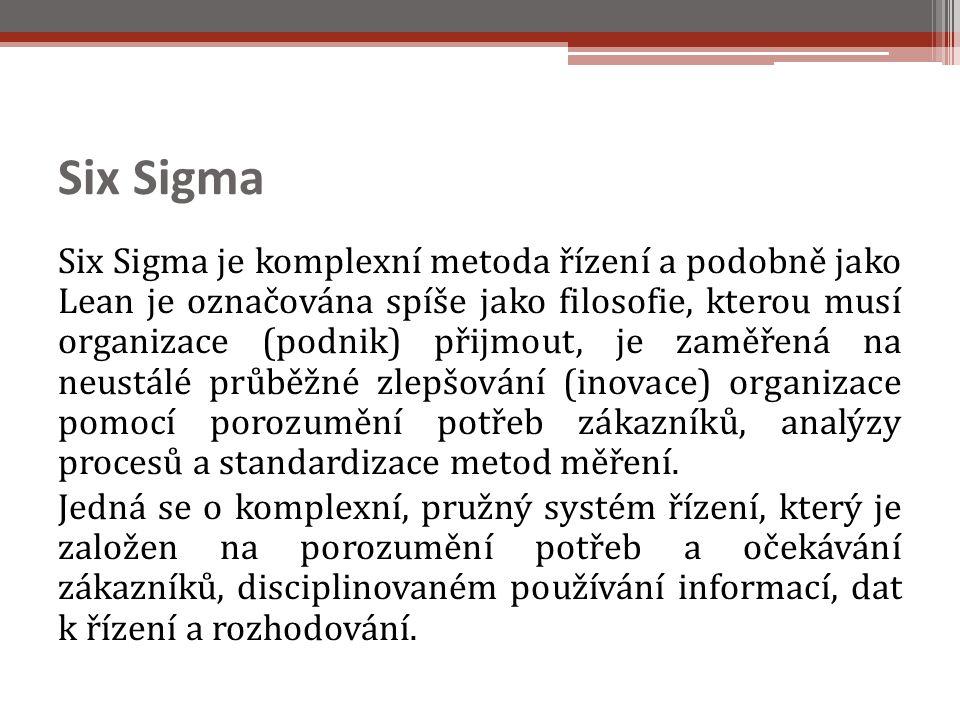 Six Sigma Six Sigma je komplexní metoda řízení a podobně jako Lean je označována spíše jako filosofie, kterou musí organizace (podnik) přijmout, je zaměřená na neustálé průběžné zlepšování (inovace) organizace pomocí porozumění potřeb zákazníků, analýzy procesů a standardizace metod měření.