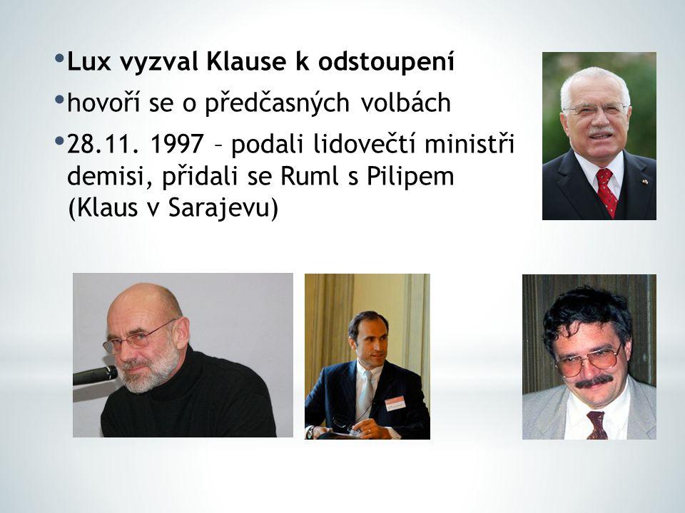 30.11.1997 – Havel přijal demisi pověřil Luxe o sestavení vlády – bez úspěchu 17.12.