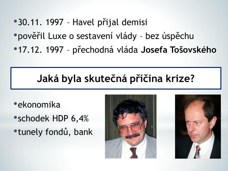 a) absence právního rámce b) zvýhodnění dlužníků proti věřitelům c) podcenění regulace finančních trhů d) restriktivní politika ČNB (dlouho držela pevný kurz) Jaké byly příčiny krize.