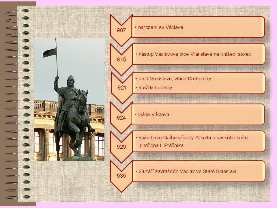 907 narození sv.Václava 915 nástup Václavova otce Vratislava na knížecí stolec 921 smrt Vratislava, vláda Drahomíry vražda Ludmily 924 vláda Václava 929 vpád bavorského vévody Arnulfa a saského krále Jindřicha I.