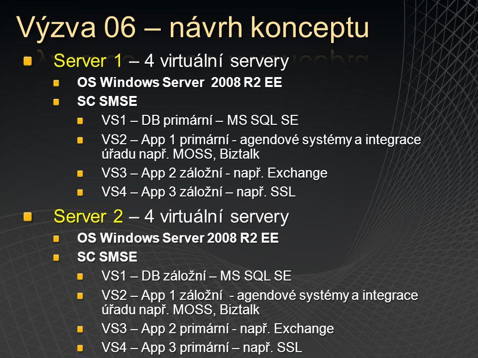 Server 1 – 4 virtuální servery OS Windows Server 2008 R2 EE SC SMSE VS1 – DB primární – MS SQL SE VS2 – App 1 primární - agendové systémy a integrace