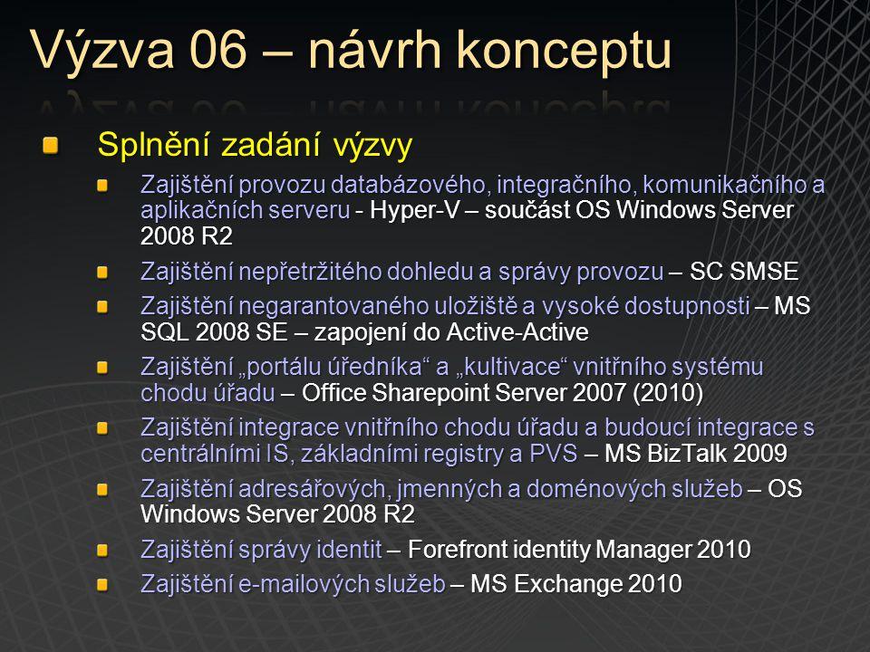 Splnění zadání výzvy Zajištění provozu databázového, integračního, komunikačního a aplikačních serveru - Hyper-V – součást OS Windows Server 2008 R2 Z