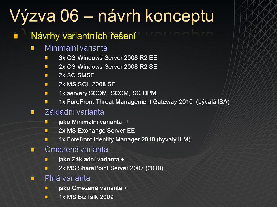 Návrhy variantních řešení Minimální varianta 3x OS Windows Server 2008 R2 EE 2x OS Windows Server 2008 R2 SE 2x SC SMSE 2x MS SQL 2008 SE 1x servery S