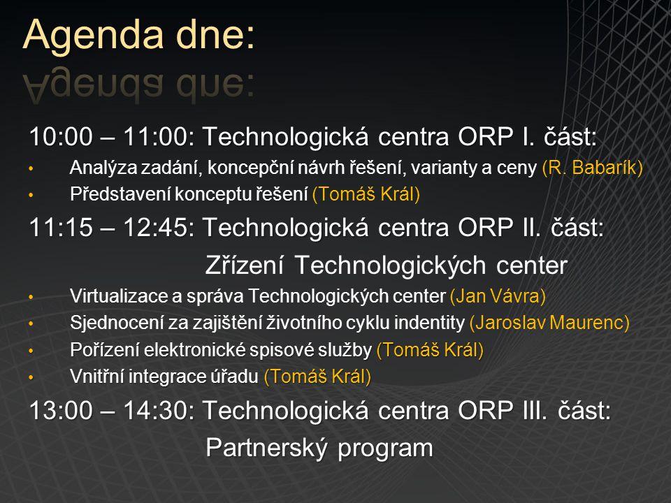10:00 – 11:00: Technologická centra ORP I. část: Analýza zadání, koncepční návrh řešení, varianty a ceny (R. Babarík) Představení konceptu řešení (Tom