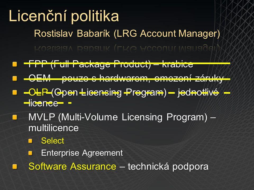 FPP (Full Package Product) – krabice OEM – pouze s hardwarem, omezení záruky OLP (Open Licensing Program) – jednotlivé licence MVLP (Multi-Volume Lice