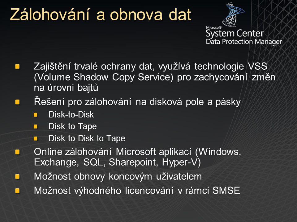 Zajištění trvalé ochrany dat, využívá technologie VSS (Volume Shadow Copy Service) pro zachycování změn na úrovni bajtů Řešení pro zálohování na disko