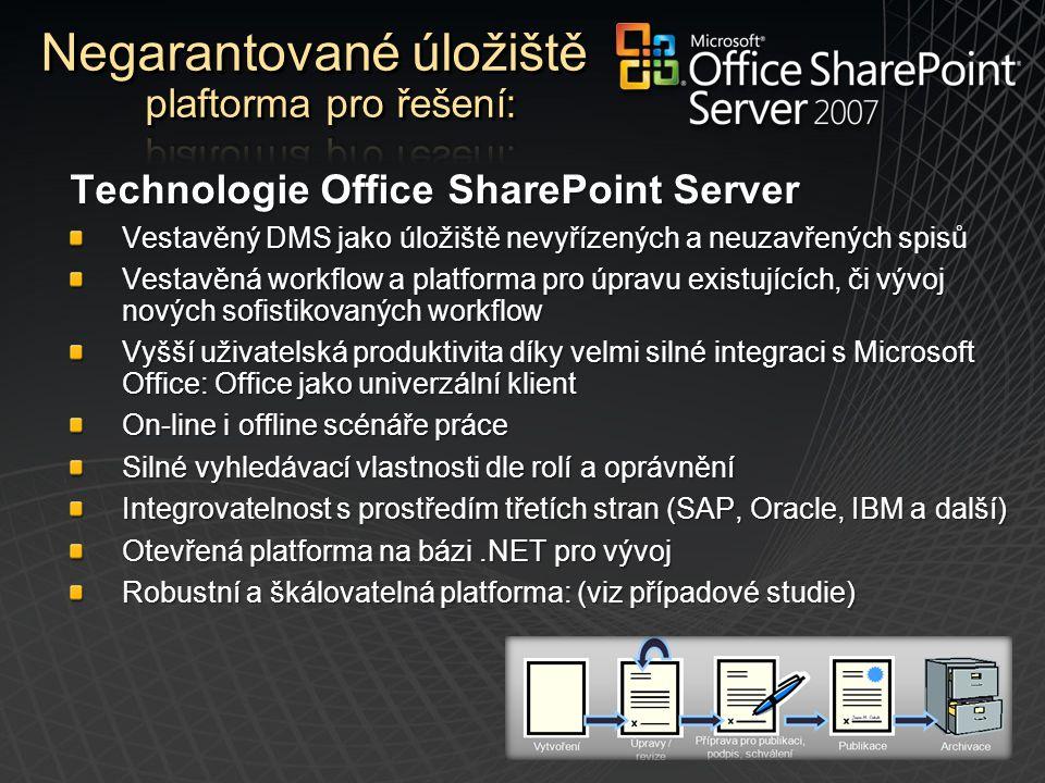 Technologie Office SharePoint Server Vestavěný DMS jako úložiště nevyřízených a neuzavřených spisů Vestavěná workflow a platforma pro úpravu existujíc
