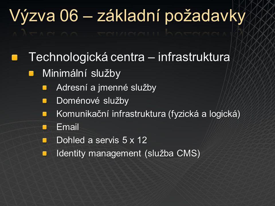 Technologická centra – infrastruktura Minimální služby Adresní a jmenné služby Doménové služby Komunikační infrastruktura (fyzická a logická) Email Do