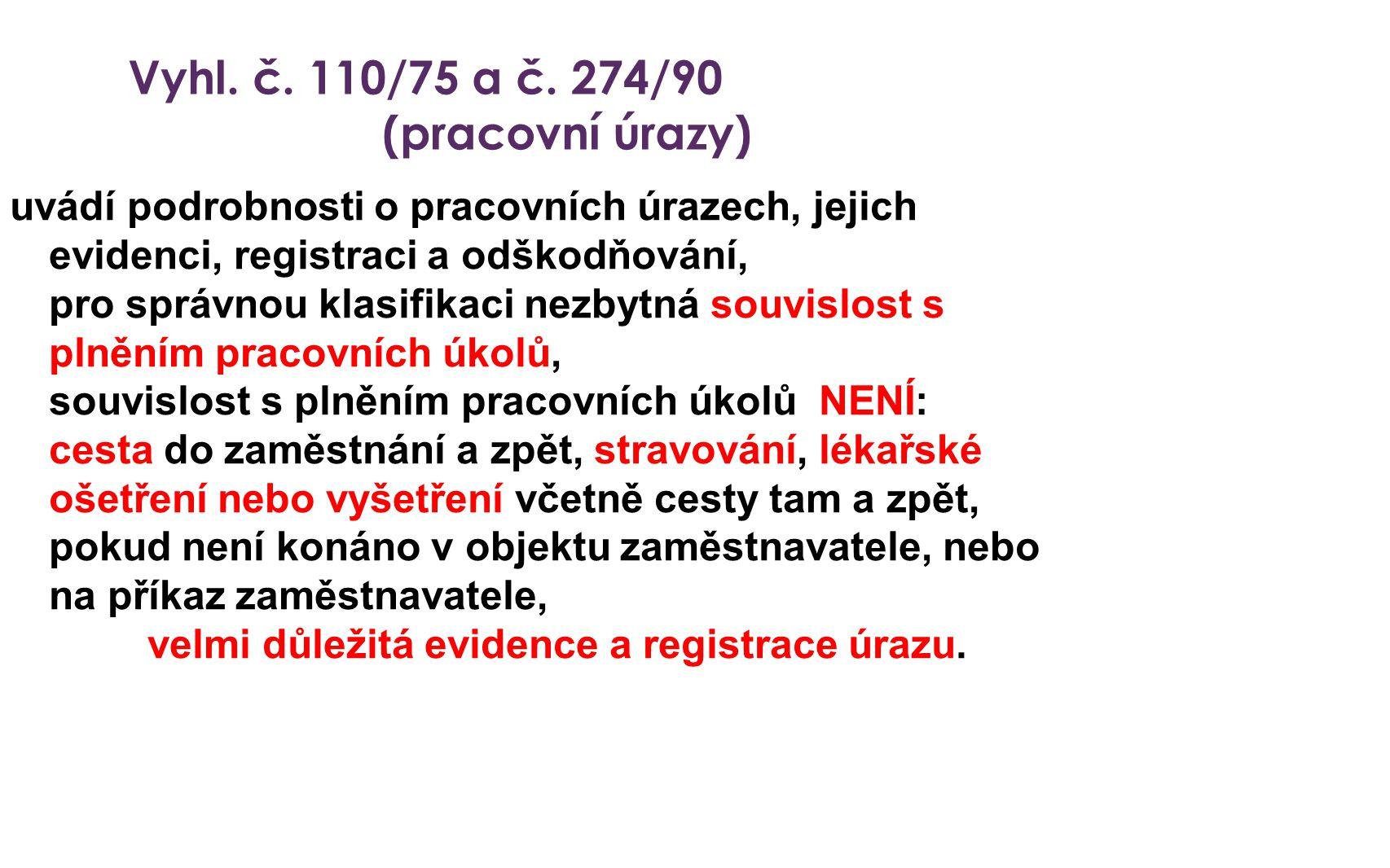 Vyhl. č. 110/75 a č. 274/90 (pracovní úrazy) uvádí podrobnosti o pracovních úrazech, jejich evidenci, registraci a odškodňování, pro správnou klasifik