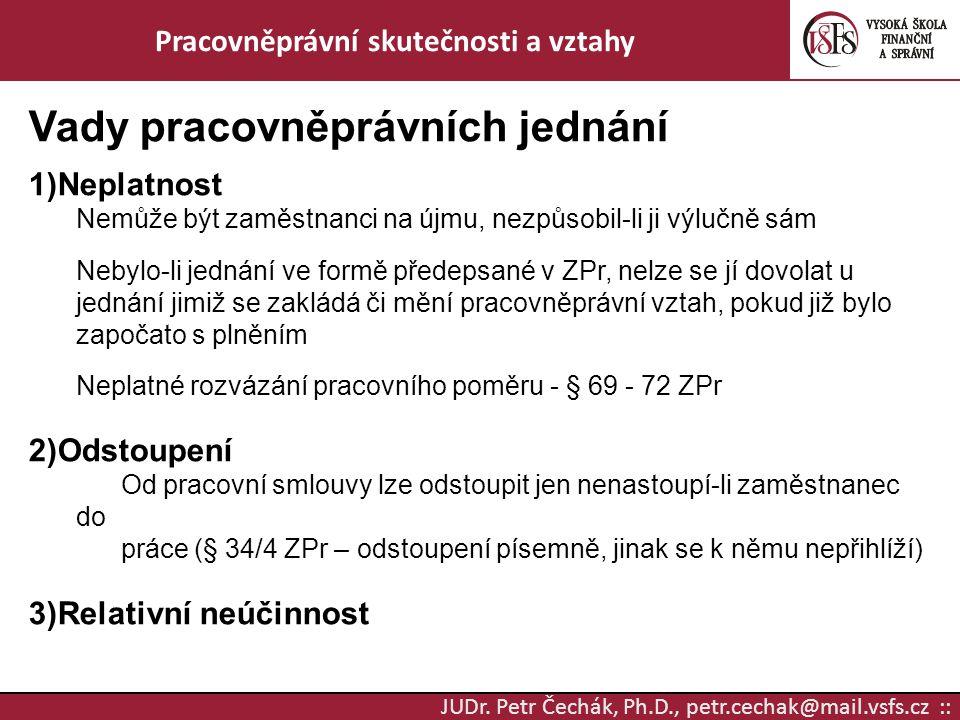 JUDr. Petr Čechák, Ph.D., petr.cechak@mail.vsfs.cz :: Pracovněprávní skutečnosti a vztahy Vady pracovněprávních jednání 1)Neplatnost Nemůže být zaměst