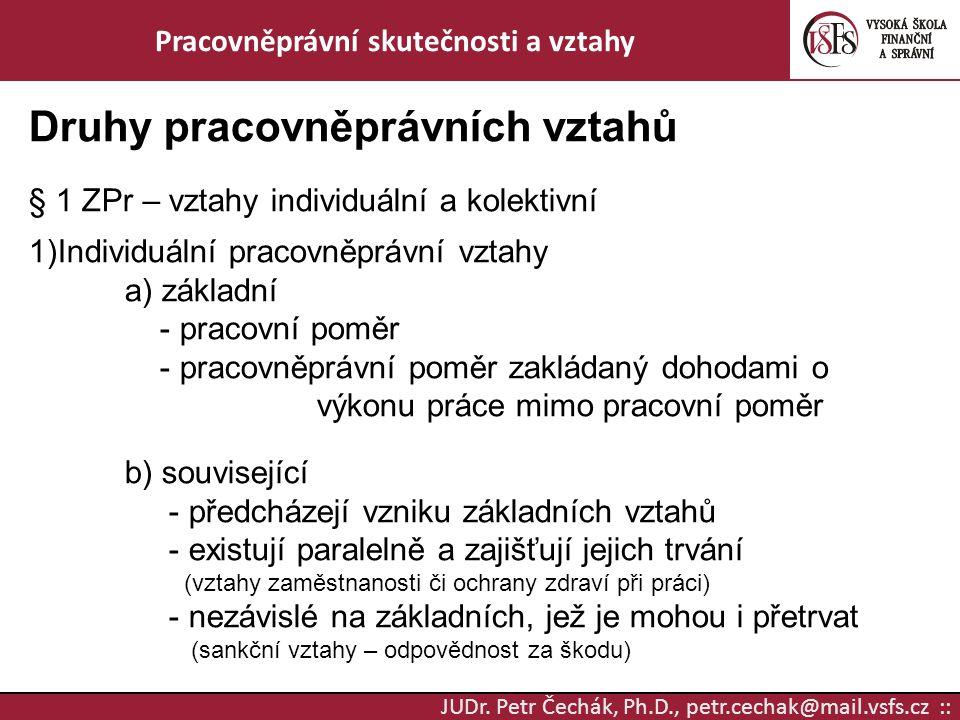 JUDr. Petr Čechák, Ph.D., petr.cechak@mail.vsfs.cz :: Pracovněprávní skutečnosti a vztahy Druhy pracovněprávních vztahů § 1 ZPr – vztahy individuální