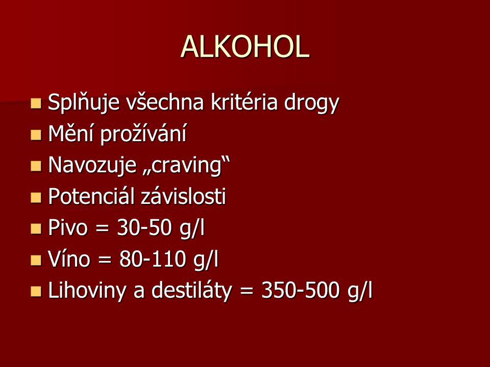 """ALKOHOL Splňuje všechna kritéria drogy Splňuje všechna kritéria drogy Mění prožívání Mění prožívání Navozuje """"craving"""" Navozuje """"craving"""" Potenciál zá"""