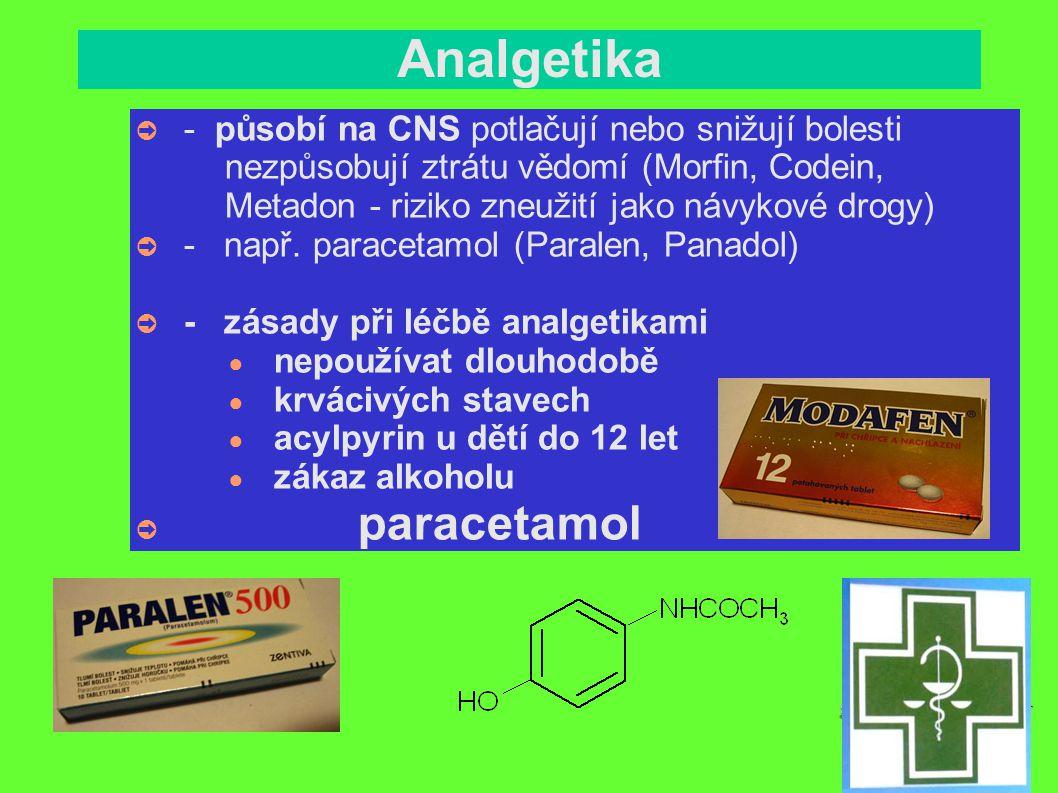 Anestetika ➲ - mají celkový nebo lokální účinek ➲ - celková anestezie slouží při rozsáhlých chirurgických zákrocích => stav bezvědomí => ztráta motorických reflexů - celková anestezie ● inhalační - krátkodobá (N 2 O, cyklopropan) ● - dlouhodobá (dieléter, halotan) ● injekční – do žíly, do svalu (šetrnější než inhalační)