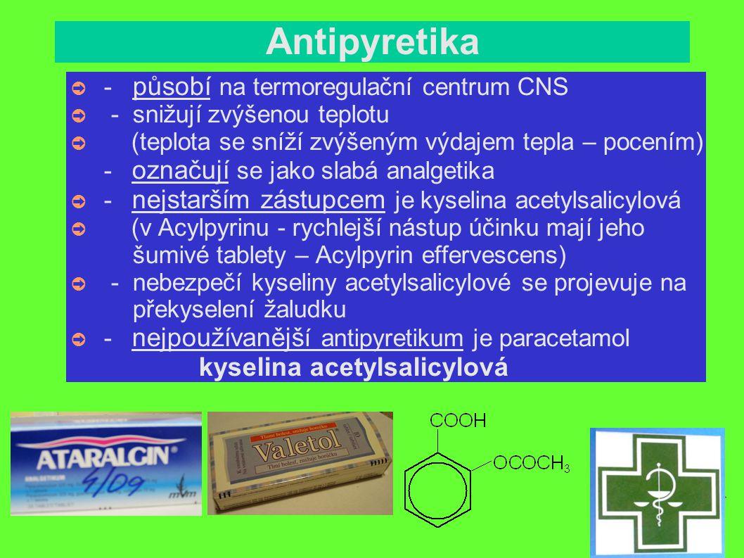 Antirevmatika, antiflogistika ➲ - na léčbu revmatických nemocí - antirevmatika – léčí onemocnění kloubů, šlach a svalů, jejich degenerativní změny - antiflogistika - proti zánětu ● (rhevmatismus – bolest pohybového ústrojí - kloubů, svalů, úponů a šlach) (používaná léčiva mají komplexnější účinky ● – analgetické, antipyretické, antiflogistické) - nežádoucí účinky - poškození žaludeční sliznice - postihují CNS - poruchy krvetvorby