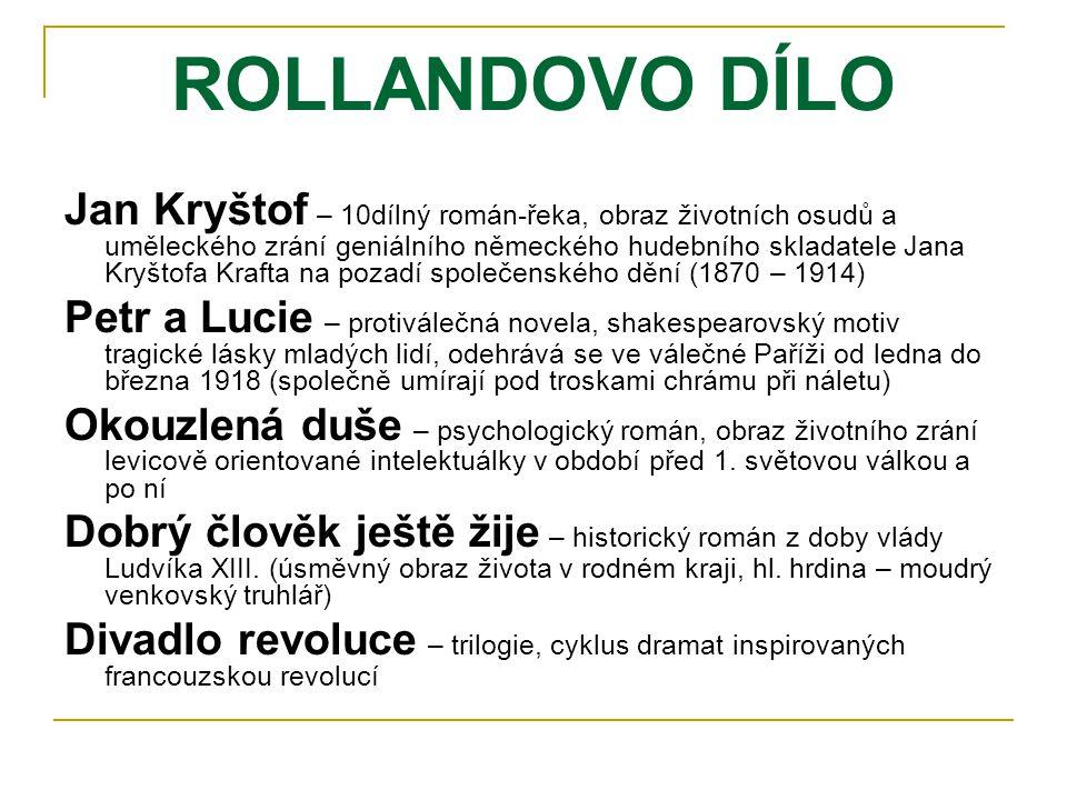ROLLANDOVO DÍLO Jan Kryštof – 10dílný román-řeka, obraz životních osudů a uměleckého zrání geniálního německého hudebního skladatele Jana Kryštofa Kra
