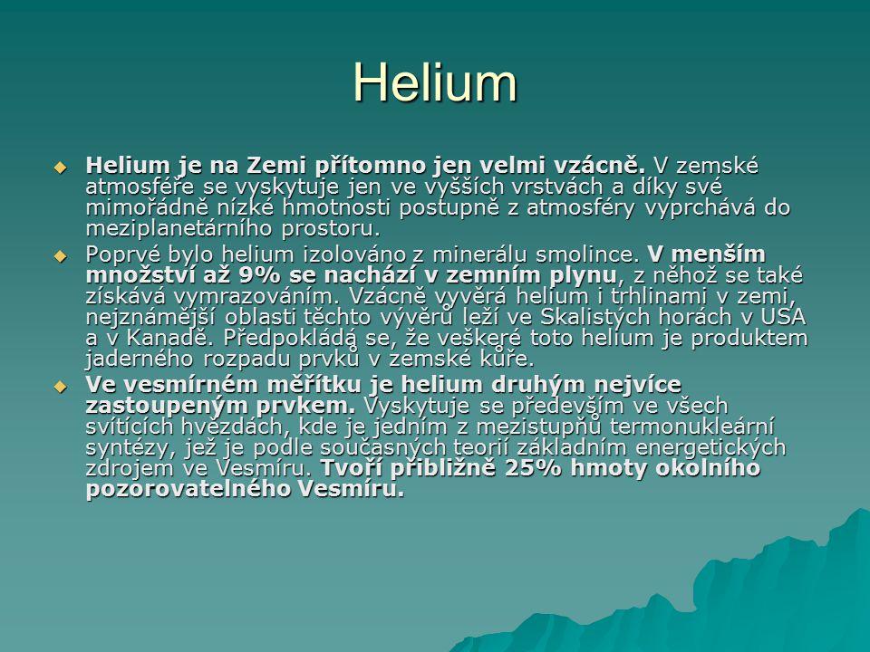  Vzhledem ke své extrémně nízké hustotě a inertnímu chování se helium používá k plnění balónů a vzducholodí jako náhrada hořlavého vodíku.