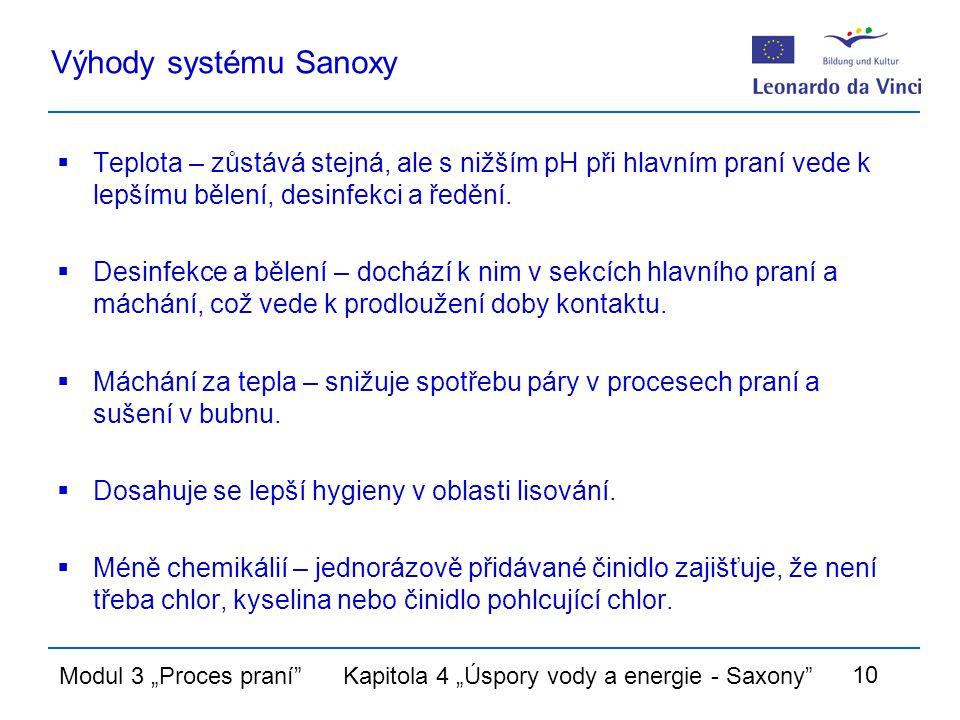 """Modul 3 """"Proces praní Kapitola 4 """"Úspory vody a energie - Saxony 10 Výhody systému Sanoxy  Teplota – zůstává stejná, ale s nižším pH při hlavním praní vede k lepšímu bělení, desinfekci a ředění."""