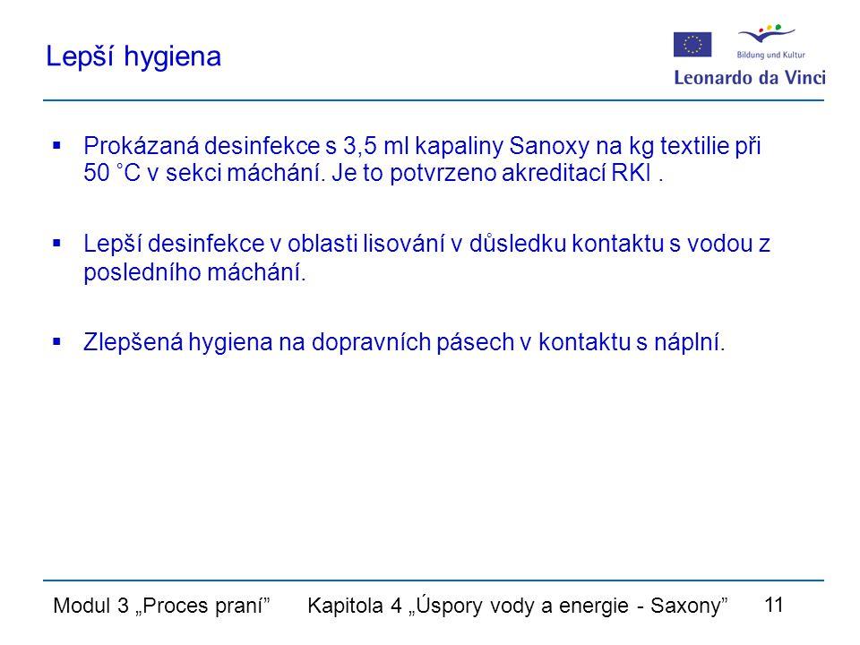 """Modul 3 """"Proces praní Kapitola 4 """"Úspory vody a energie - Saxony 11 Lepší hygiena  Prokázaná desinfekce s 3,5 ml kapaliny Sanoxy na kg textilie při 50 °C v sekci máchání."""