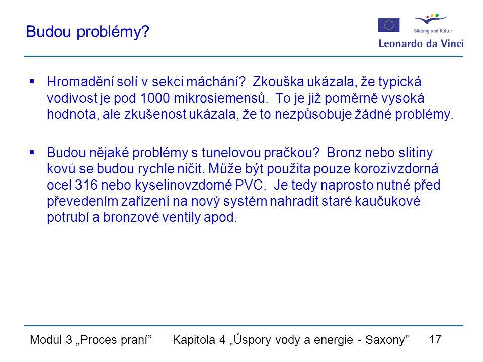 """Modul 3 """"Proces praní Kapitola 4 """"Úspory vody a energie - Saxony 17 Budou problémy."""