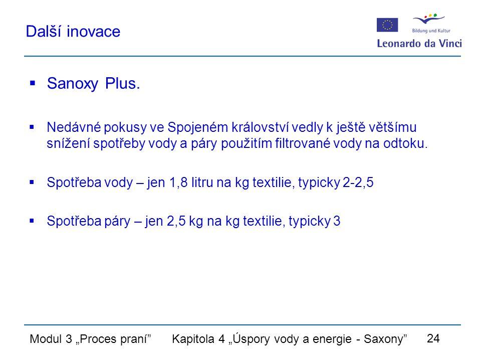 """Modul 3 """"Proces praní Kapitola 4 """"Úspory vody a energie - Saxony 24 Další inovace  Sanoxy Plus."""