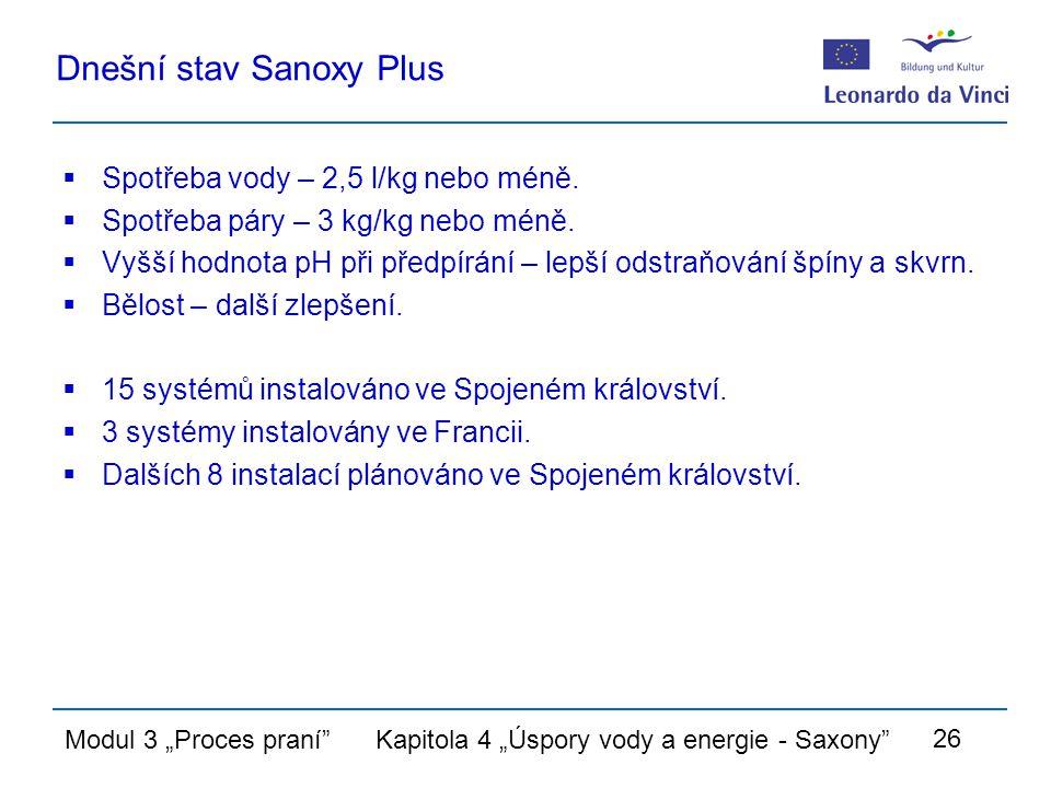 """Modul 3 """"Proces praní Kapitola 4 """"Úspory vody a energie - Saxony 26 Dnešní stav Sanoxy Plus  Spotřeba vody – 2,5 l/kg nebo méně."""