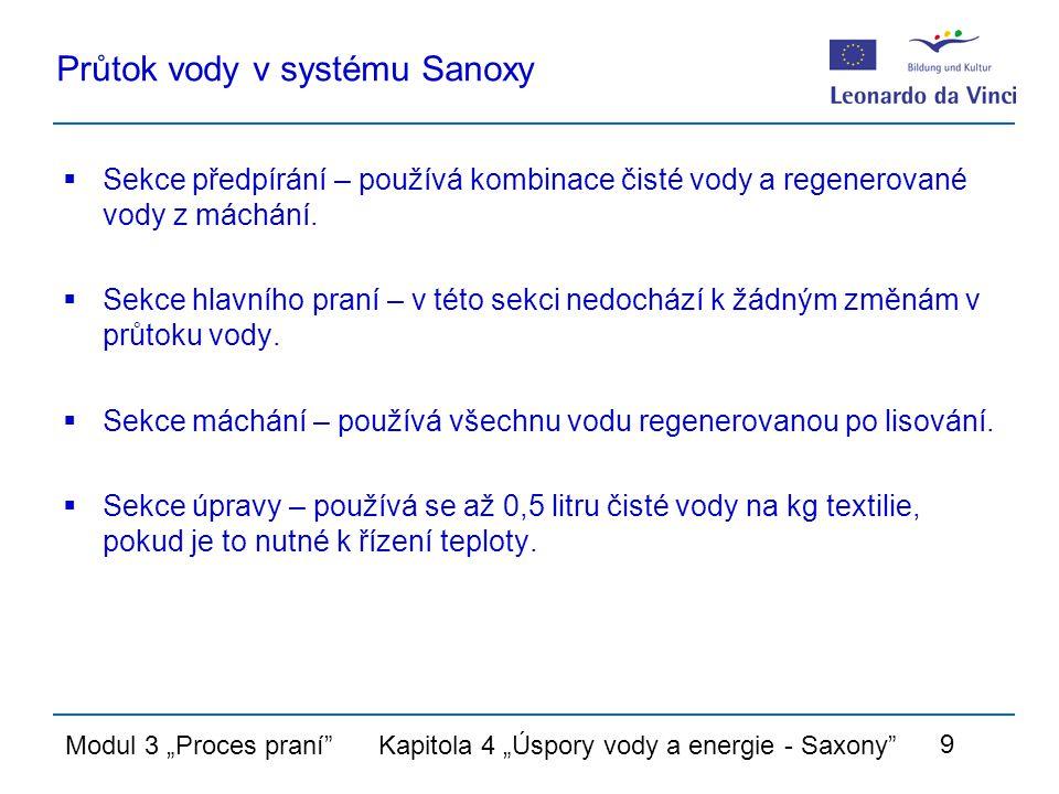 """Modul 3 """"Proces praní Kapitola 4 """"Úspory vody a energie - Saxony 9 Průtok vody v systému Sanoxy  Sekce předpírání – používá kombinace čisté vody a regenerované vody z máchání."""