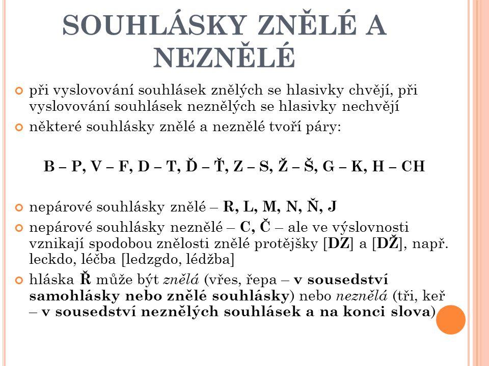 SOUHLÁSKY ZNĚLÉ A NEZNĚLÉ při vyslovování souhlásek znělých se hlasivky chvějí, při vyslovování souhlásek neznělých se hlasivky nechvějí některé souhl