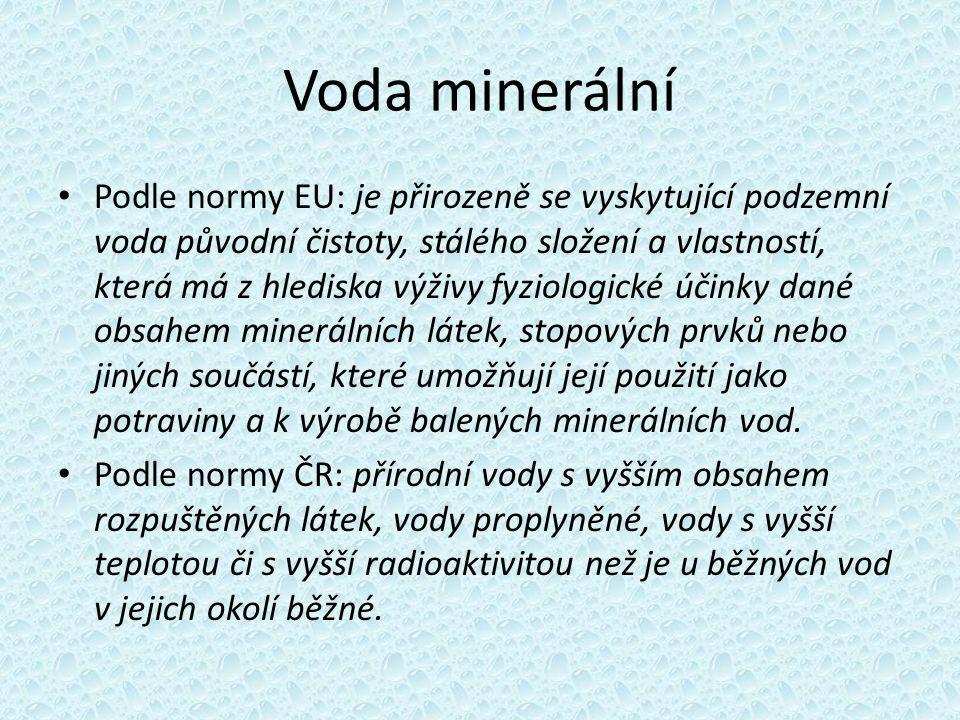 Voda minerální Podle normy EU: je přirozeně se vyskytující podzemní voda původní čistoty, stálého složení a vlastností, která má z hlediska výživy fyz
