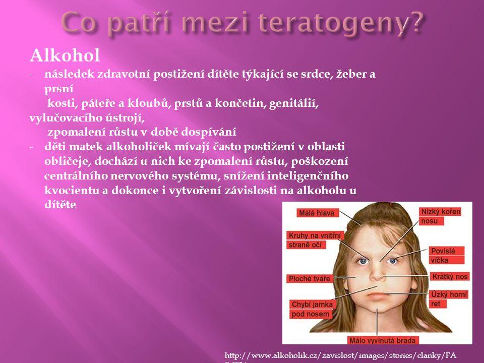 Alkohol - následek zdravotní postižení dítěte týkající se srdce, žeber a prsní kosti, páteře a kloubů, prstů a končetin, genitálií, vylučovacího ústro