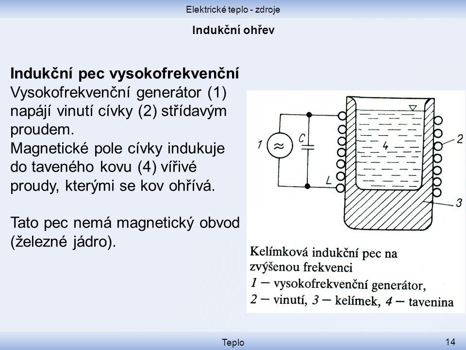 Elektrické teplo - zdroje Teplo 14 Indukční pec vysokofrekvenční Vysokofrekvenční generátor (1) napájí vinutí cívky (2) střídavým proudem. Magnetické
