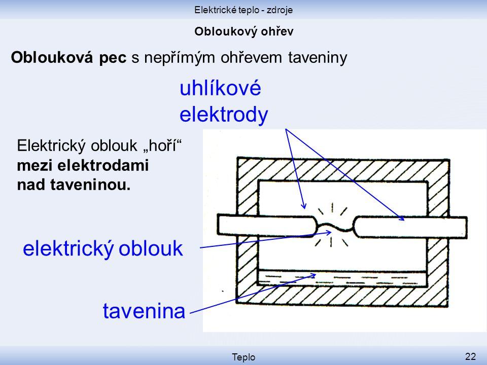"""Elektrické teplo - zdroje Teplo 22 Oblouková pec s nepřímým ohřevem taveniny elektrický oblouk uhlíkové elektrody tavenina Elektrický oblouk """"hoří"""" me"""