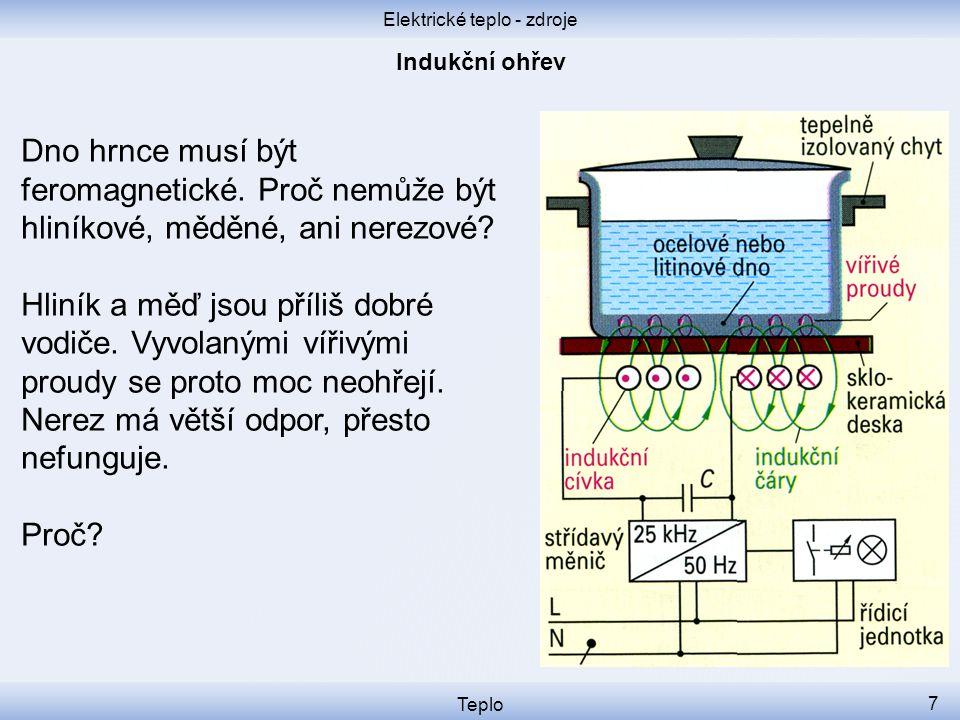 Elektrické teplo - zdroje Teplo 7 Dno hrnce musí být feromagnetické. Proč nemůže být hliníkové, měděné, ani nerezové? Hliník a měď jsou příliš dobré v