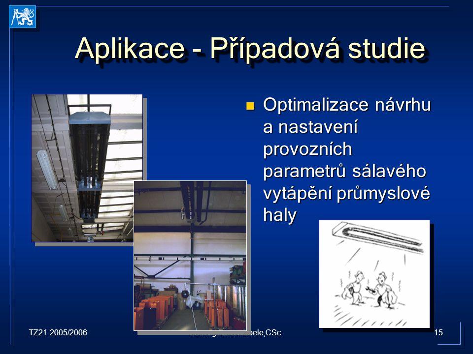TZ21 2005/200615doc.Ing.Karel Kabele,CSc. Aplikace - Případová studie Optimalizace návrhu a nastavení provozních parametrů sálavého vytápění průmyslov