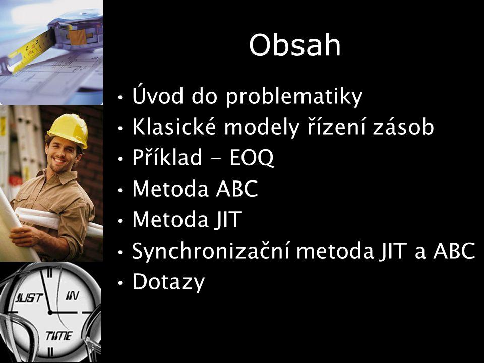 Obsah Úvod do problematiky Klasické modely řízení zásob Příklad - EOQ Metoda ABC Metoda JIT Synchronizační metoda JIT a ABC Dotazy