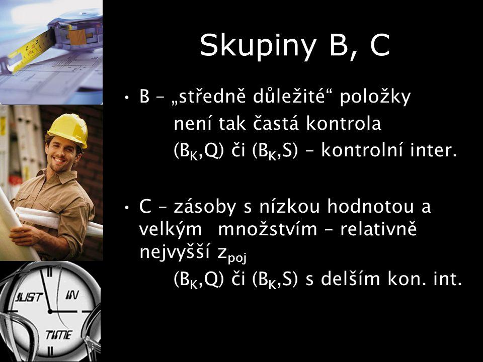 """Skupiny B, C B – """"středně důležité"""" položky není tak častá kontrola (B K,Q) či (B K,S) – kontrolní inter. C – zásoby s nízkou hodnotou a velkým množst"""