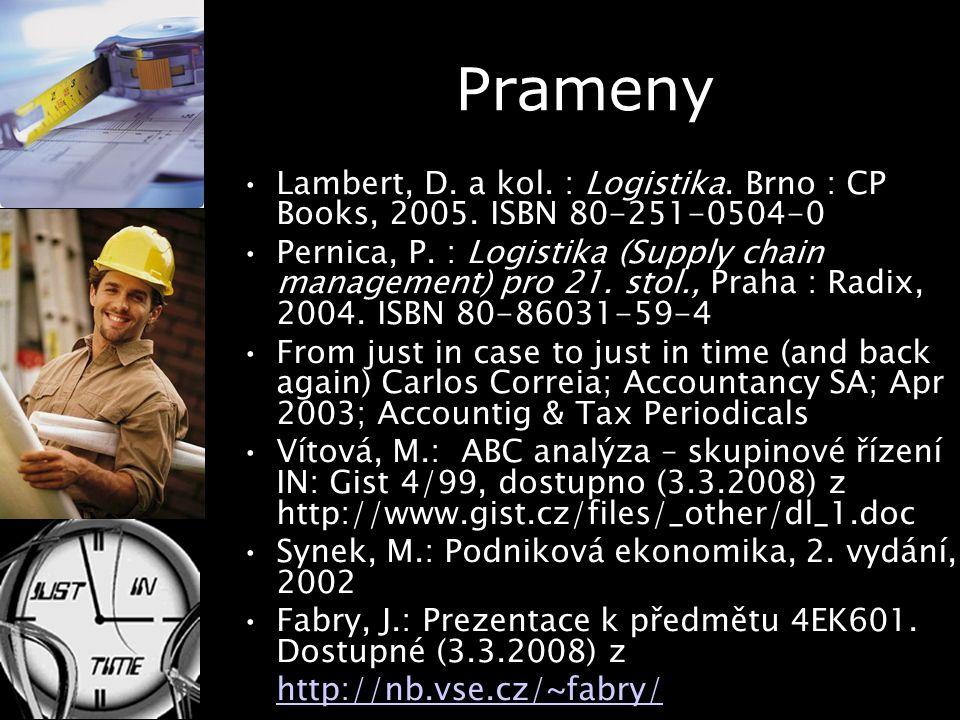 Prameny Lambert, D. a kol. : Logistika. Brno : CP Books, 2005. ISBN 80-251-0504-0 Pernica, P. : Logistika (Supply chain management) pro 21. stol., Pra