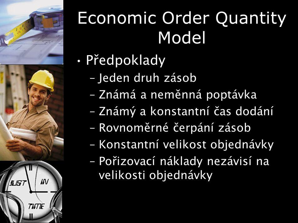 Economic Order Quantity Model Předpoklady –Jeden druh zásob –Známá a neměnná poptávka –Známý a konstantní čas dodání –Rovnoměrné čerpání zásob –Konsta
