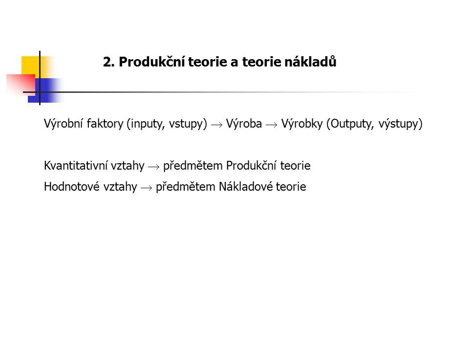 2. Produkční teorie a teorie nákladů Výrobní faktory (inputy, vstupy)  Výroba  Výrobky (Outputy, výstupy) Kvantitativní vztahy  předmětem Produkční