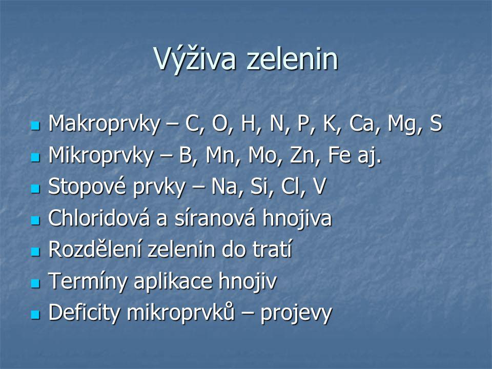 Výživa zelenin Makroprvky – C, O, H, N, P, K, Ca, Mg, S Makroprvky – C, O, H, N, P, K, Ca, Mg, S Mikroprvky – B, Mn, Mo, Zn, Fe aj. Mikroprvky – B, Mn