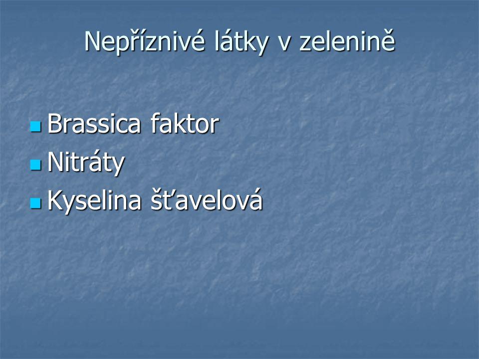 Nepříznivé látky v zelenině Brassica faktor Brassica faktor Nitráty Nitráty Kyselina šťavelová Kyselina šťavelová