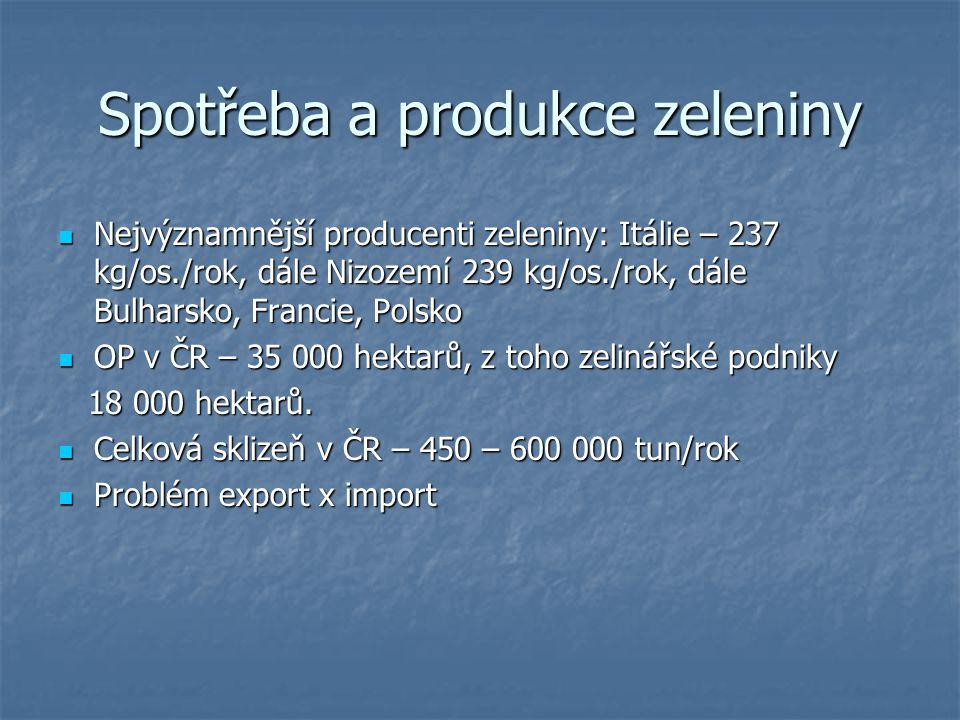 Spotřeba a produkce zeleniny Nejvýznamnější producenti zeleniny: Itálie – 237 kg/os./rok, dále Nizozemí 239 kg/os./rok, dále Bulharsko, Francie, Polsk