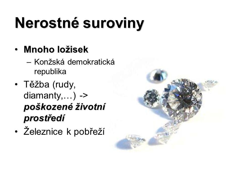 Nerostné suroviny Mnoho ložisekMnoho ložisek –Konžská demokratická republika poškozené životní prostředíTěžba (rudy, diamanty,…) -> poškozené životní