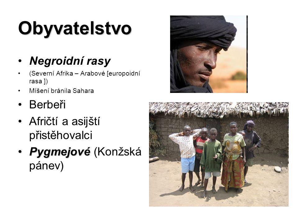 Obyvatelstvo Negroidní rasy (Severní Afrika – Arabové [europoidní rasa ]) Míšení bránila Sahara Berbeři Afričtí a asijští přistěhovalci PygmejovéPygmejové (Konžská pánev)