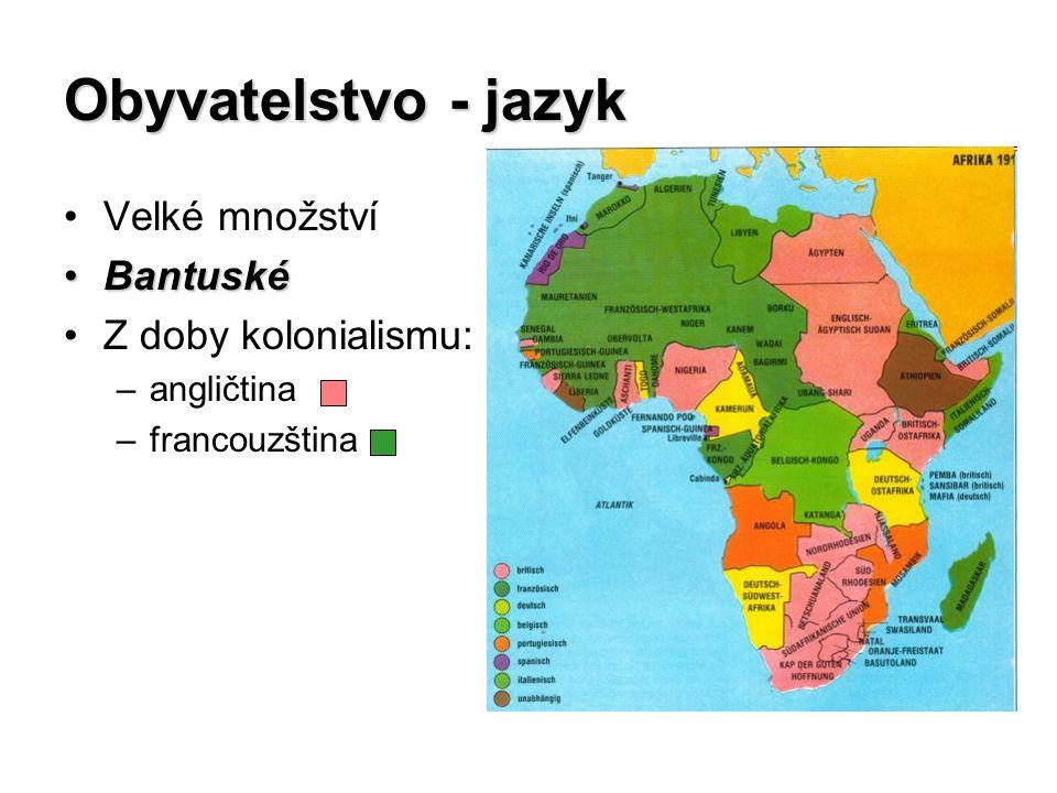 Obyvatelstvo - jazyk Velké množství BantuskéBantuské Z doby kolonialismu: –angličtina –francouzština