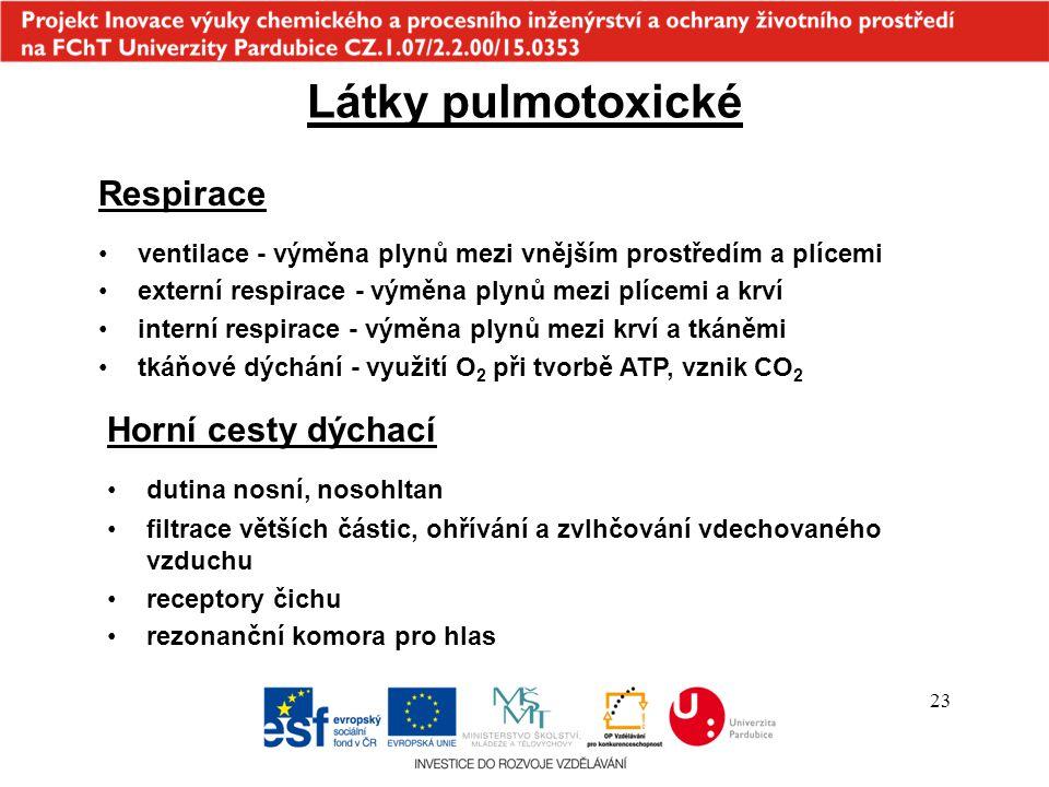 23 Horní cesty dýchací dutina nosní, nosohltan Látky pulmotoxické Respirace ventilace - výměna plynů mezi vnějším prostředím a plícemi externí respirace - výměna plynů mezi plícemi a krví interní respirace - výměna plynů mezi krví a tkáněmi tkáňové dýchání - využití O 2 při tvorbě ATP, vznik CO 2 filtrace větších částic, ohřívání a zvlhčování vdechovaného vzduchu receptory čichu rezonanční komora pro hlas