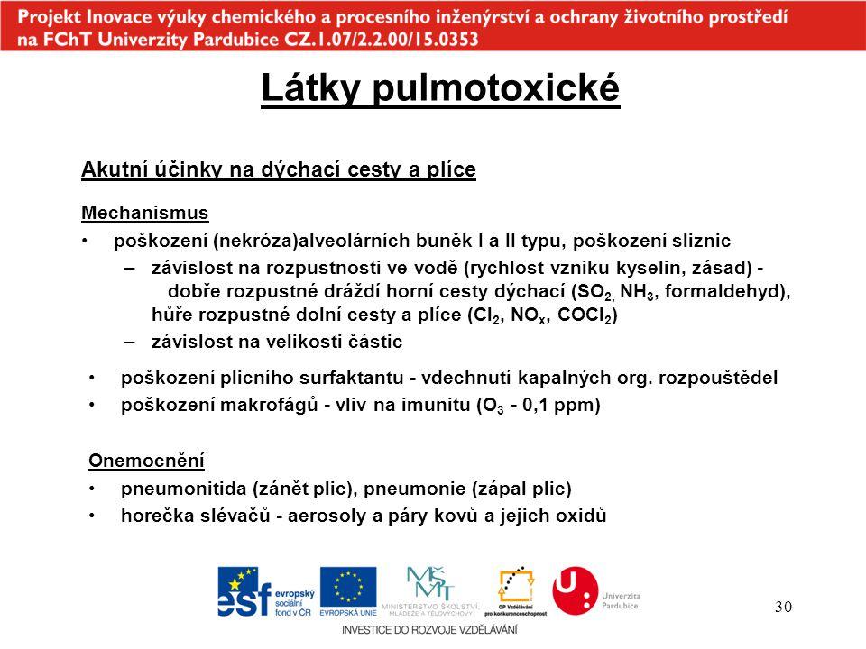 30 poškození plicního surfaktantu - vdechnutí kapalných org. rozpouštědel poškození makrofágů - vliv na imunitu (O 3 - 0,1 ppm) Onemocnění pneumonitid