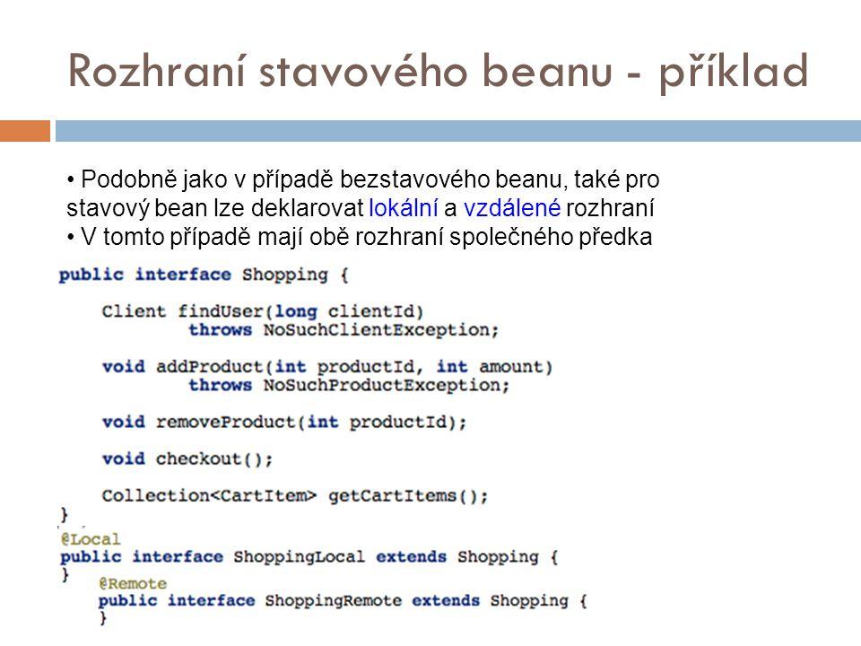 Rozhraní stavového beanu - příklad Podobně jako v případě bezstavového beanu, také pro stavový bean lze deklarovat lokální a vzdálené rozhraní V tomto případě mají obě rozhraní společného předka