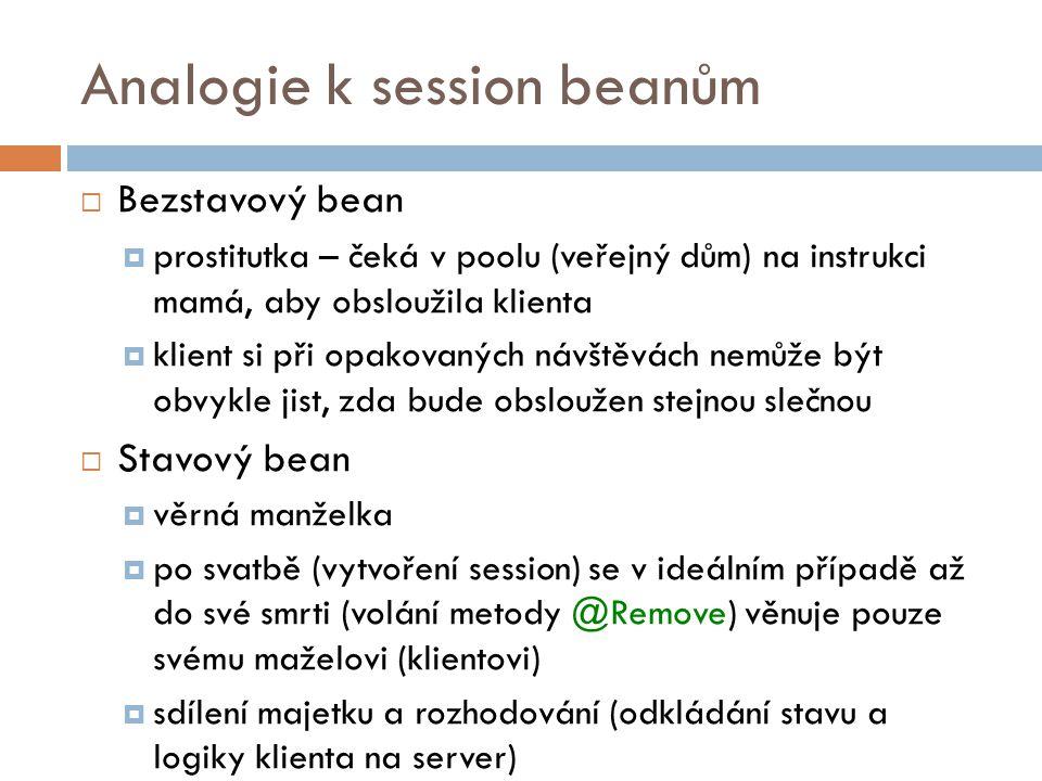 Analogie k session beanům  Bezstavový bean  prostitutka – čeká v poolu (veřejný dům) na instrukci mamá, aby obsloužila klienta  klient si při opako